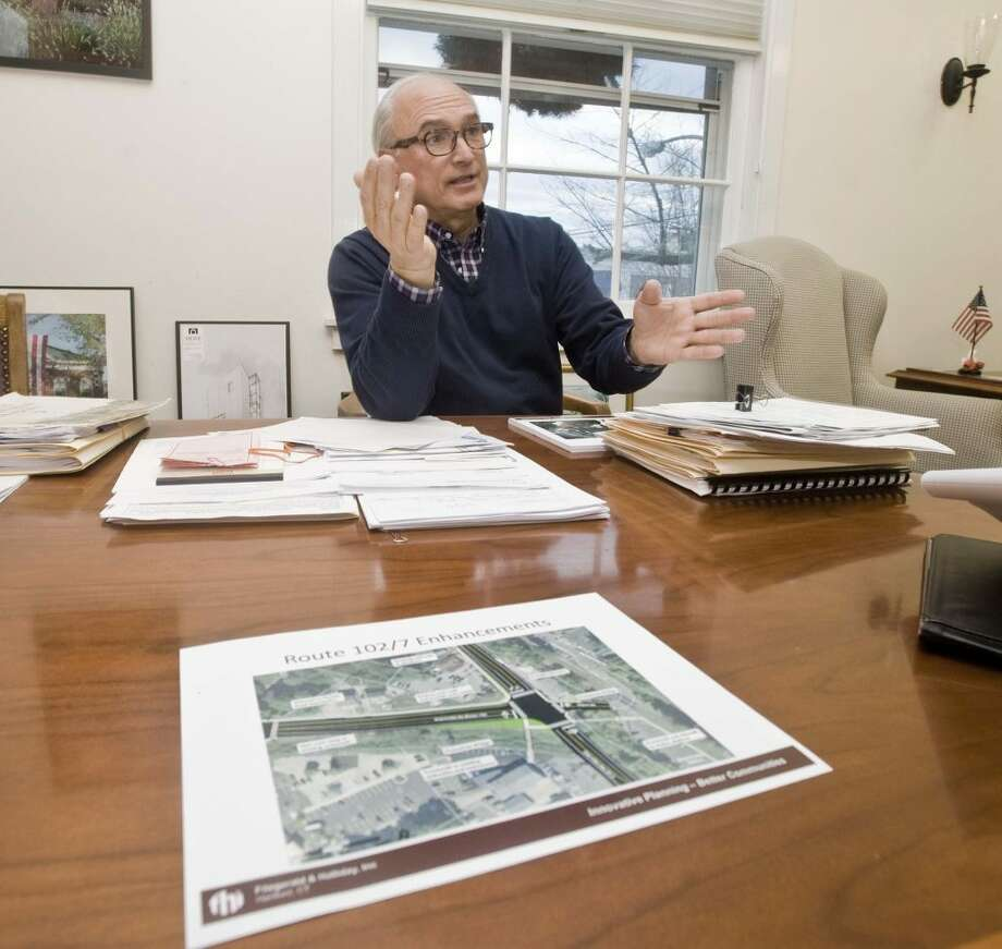 Ridgefield First Selectman Rudy Marconi, in his office at Town Hall, discusses improvements to the Branchville area.