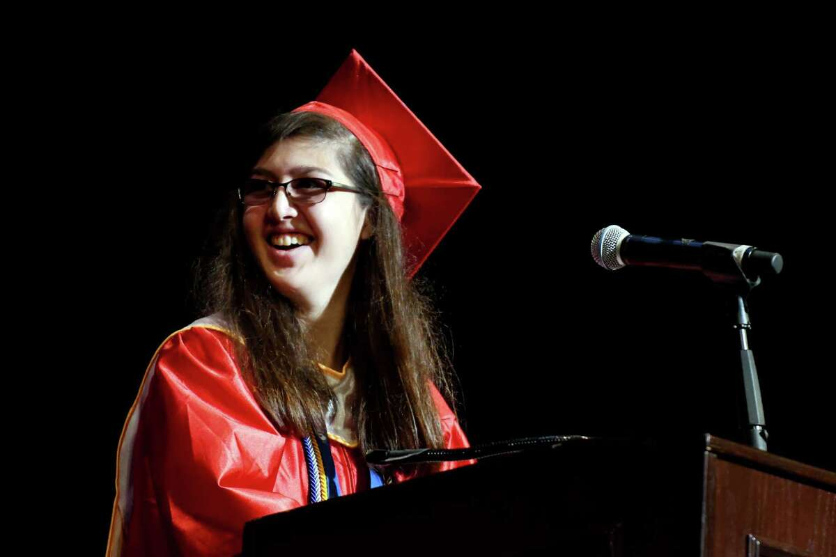 Schenectady High School valedictorian Anna Blanchfield speaks to the class of 2019 during the 27th commencement ceremony of Schenectady High School on Wednesday, June 26, 2019, at Proctors Theatre in Schenectady, N.Y. (Catherine Rafferty/Times Union)