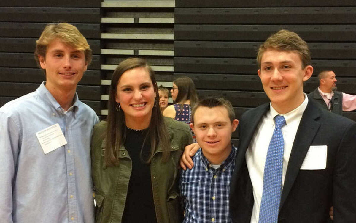 The 2019 Ridgefield Old Timers Association Scholarship Winners are Braedon McSpedon, Emma Brody, Kevin Davis and James St. Pierre. Braedon and Kevin received the Ridgefield Old Timers Tom Belote Memorial Scholarship.