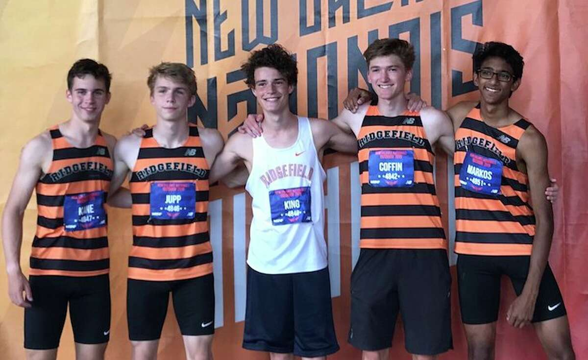 Ridgefield High students James Kane, Simon Jupp, Charlie King, Chip Coffin, and Amit Markos combined to run on two relay races in the Championship division at the New Balance Nationals Outdoor meet.