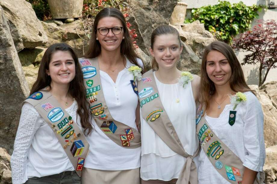 Four of eight Ridgefield Girl Scouts who won gold awards attended taken at the state ceremony.  They are, from left: Charlotte Anglade, Bridget Kager, Abigail Morris, Elizabeth Jasminski.