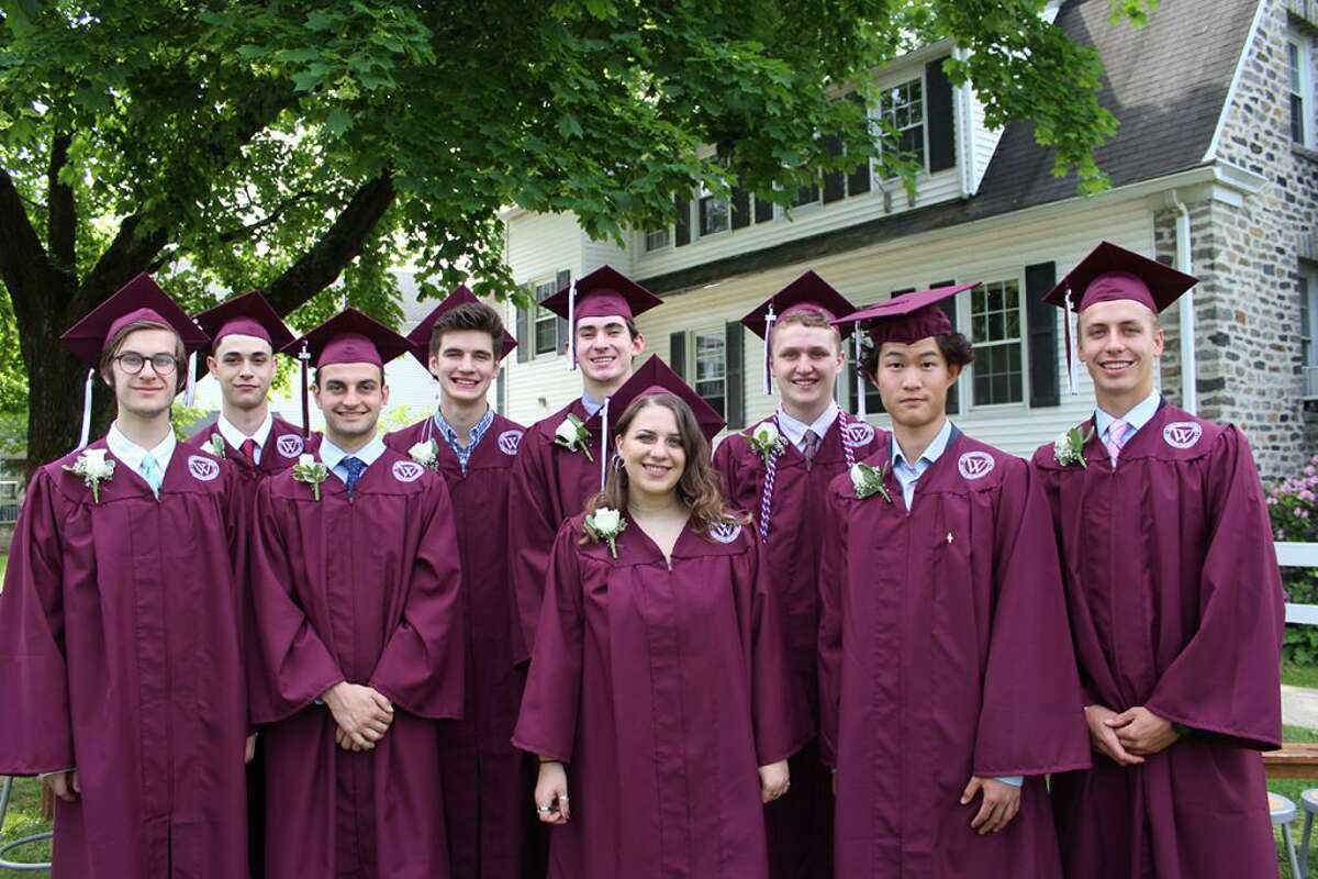 Wooster School's class of 2019 includes nine students from Ridgefield. From left to right: Connor Staub, Sawyer Moore, Tyler Wagnblas, Sam MacMillan, Cooper Byrnes, Niav Doyle, Charles Snow, Haobo (Martin) Wang and Jacob Smith.