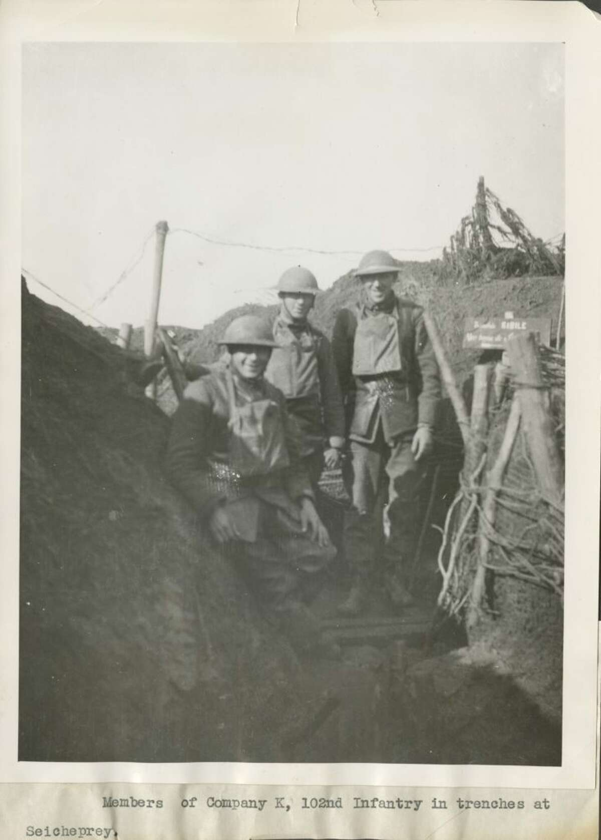 Soldiers prepare for battle during World War I in Seicheprey, France. Ridgefield High School sophomores Aaron Cohen and Mairead Lacey will participate in a trench restoration program in Seicheprey this summer.
