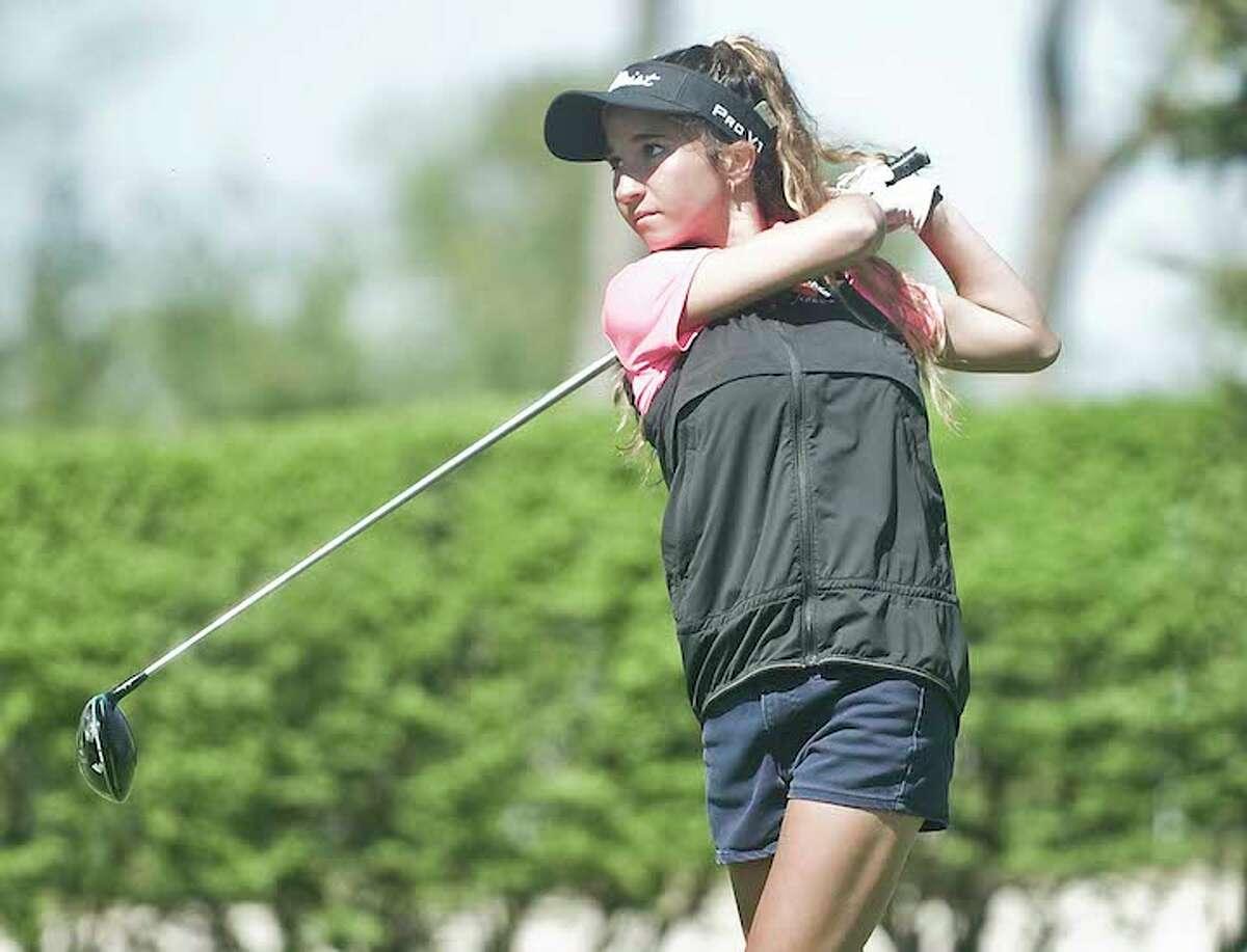 Senior Alyssa Maiolo led the Ridgefield High girls golf team to a ninth-place finish at the state championship. - Scott Mullin photo