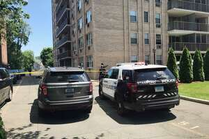 Stamford Police respond to 65 Glenbrook Road after an elderly woman fell off of a balcony on Wednesday, June 26.