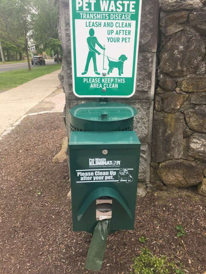 The dog poop station at the corner of Main Street and Gilbert Street. — Steve Coulter photo