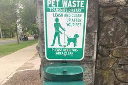 The dog poop station at the corner of Main Street and Gilbert Street. - Steve Coulter photo