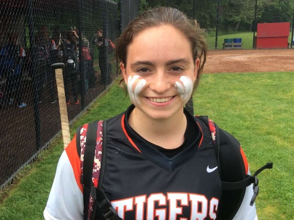 Skylar Arent was the winning oitcher and drove in six runs as the Ridgefield High softball team beat Greenwich in the first round of the state tournament. - David Fierro photo