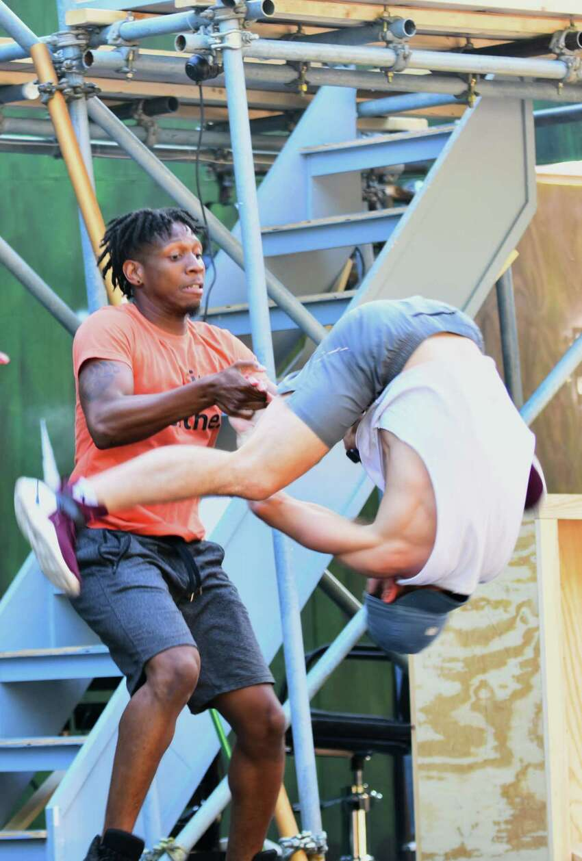 A rehearsal of Park Playhouse's production of