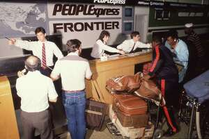 People Express Frontier ticket counter at Hobby Airport in Houston in 1986.