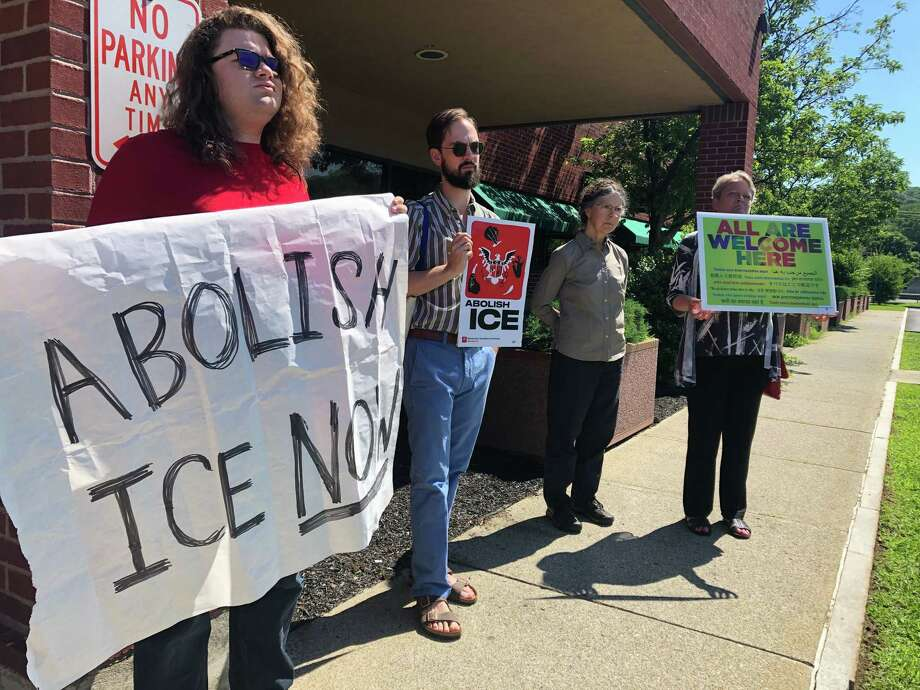 Residents, activists and attorneys protest Rensselaer County Sheriff's 287(g) agreement with U.S. Immigration and Customs Enforcement (ICE) at the first public committee meeting on the pact at the Rensselaer County Jail on Wednesday, June 26, 2019. Photo: Mallory Moench/Times Union
