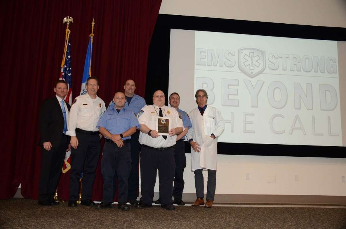 From left to right: Blair Balmforth, Danbury Hospital EMS Coordinator; Ridgefield Assistant Fire Chief Mickey Grasso, Provider of the Year; Nick Paproski, Lt. Mike Moore, Fire Chief Jerry Myers, Lifetime Achievement Award recipient; Capt. Rom Duckworth; and Western Connecticut Health Network Medical Director Pat Broderick, MD.