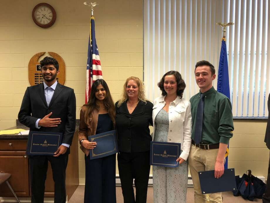 Ridgefield High School Principal Stacey Gross, middle, with Connecticut Association of Boards of Education \student leadership award winners Tara Krishna and Clay Vaughan, left, and Western Connecticut Superintendents Association award winners Sophia Haber and Vidur Hareesh, right. Other CABE recipients were Liliana Matte and Felix Maisonet III from East Ridge Middle School and Juan Pablo Briones Lopez and Corrie Vakil from Scotts Ridge Middle School. Other WCSA recipients were Devon Noonan and Jacob Voellmicke from East Ridge Middle School; Kavya Podila and Shane Miller from Scotts Ridge Middle School.