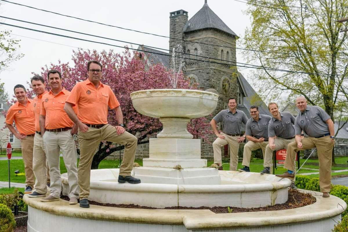 The Ridgefield 8 - Mark Blandford, Bill Diamond, Chris Forsyth, Brendan Kenny, Jeff Levi, Kyle Morehouse, Kristian Ording and Mike Rosella - pose for a picture at The Fountain.