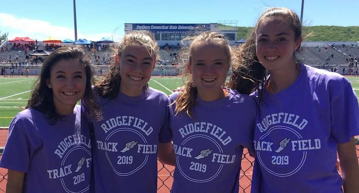Gabby Viggiano, Rory McGrath, Kate Langis, and Grace Michalowski combined to win the girls 4x800 relay at the FCIAC outdoor track championships.