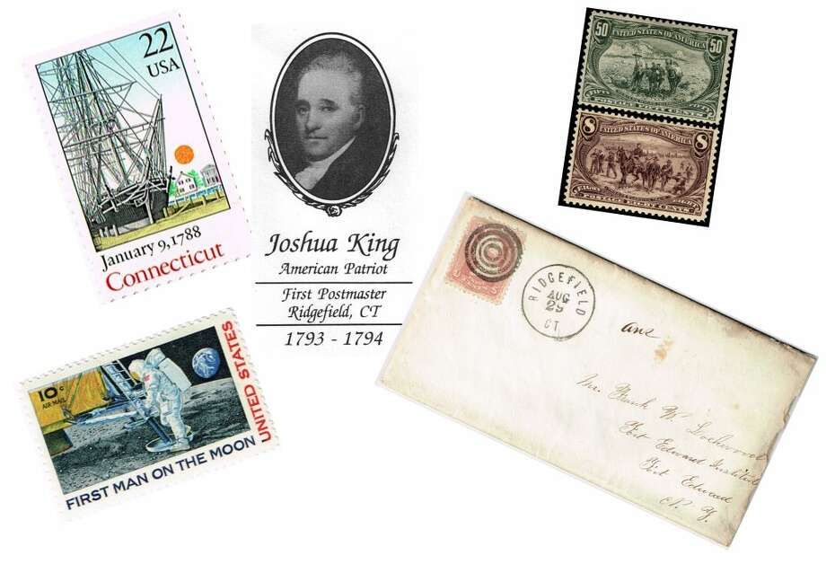 """Some of the stamps that are on display at """"Postal Ridgefield: An Exhibit at Town Hall"""" this summer."""