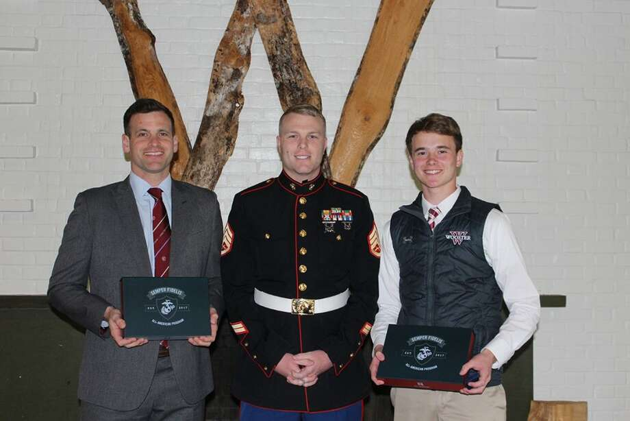 Ridgefield resident ColinCostigan, right, has been named aSemper Fidelis All-American.