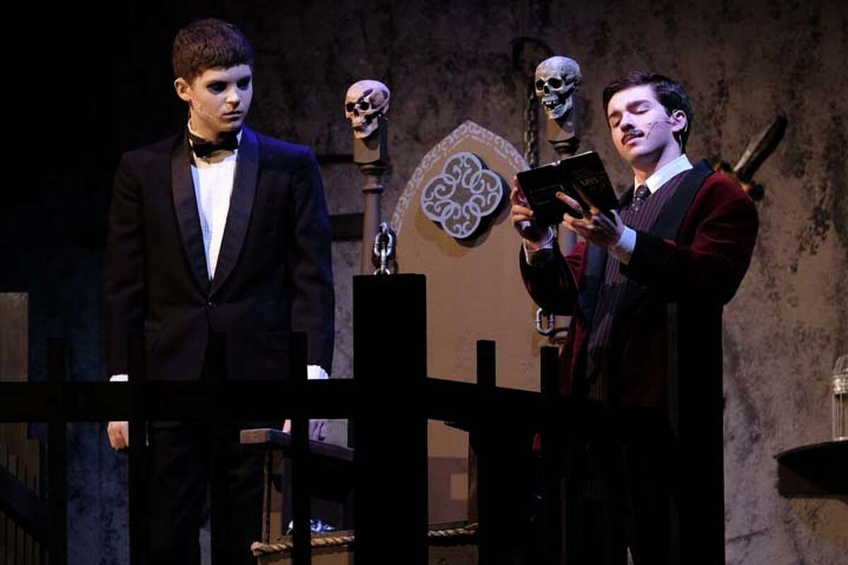 Ridgefield High School senior Evan Smolin as Gomez Addams (right) and junior Matt Carpenter as Lurch (left) have been nominated for Halo Awards. The awards event will take place on June 3 at the Palace Theater in Waterbury.