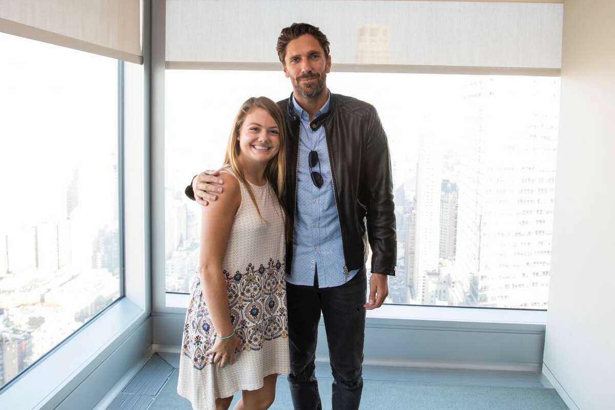 Natalie Kennedy with New York Rangers goalie Henrik Lundqvist. Kennedy, a senior at Immaculate High School received a $25,000 scholarship from the Henrik Lundqvist Foundation and the Garden of Dreams Foundation in April. She will play hockey at Sacred Heart in the fall and enter into the schools honors nursing program.