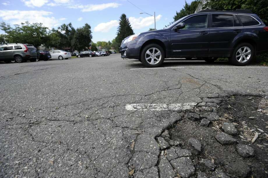 Potholes in downtown Ridgefield.