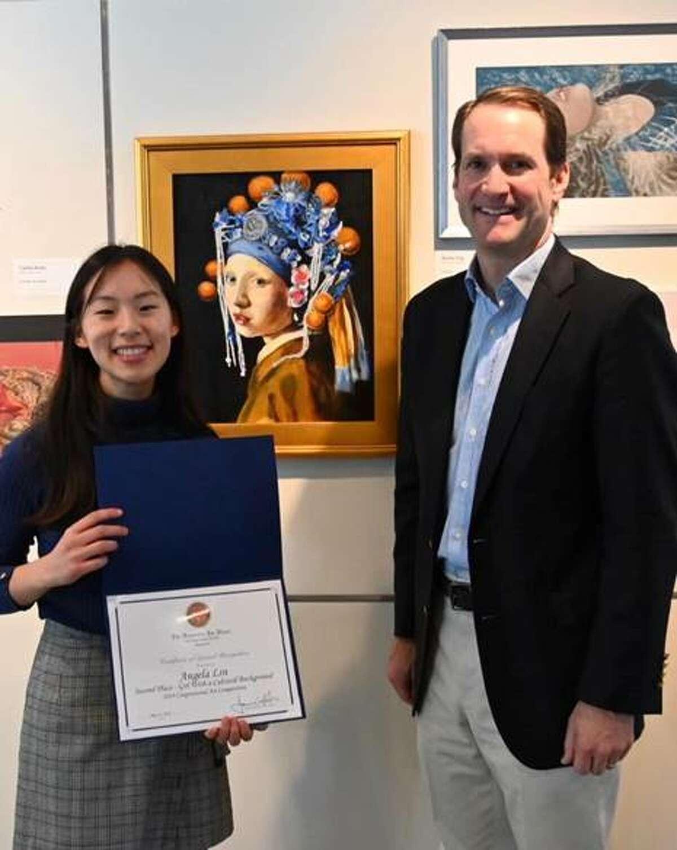 Congressman Jim Himes with Ridgefield High Schooler Angela Lin.