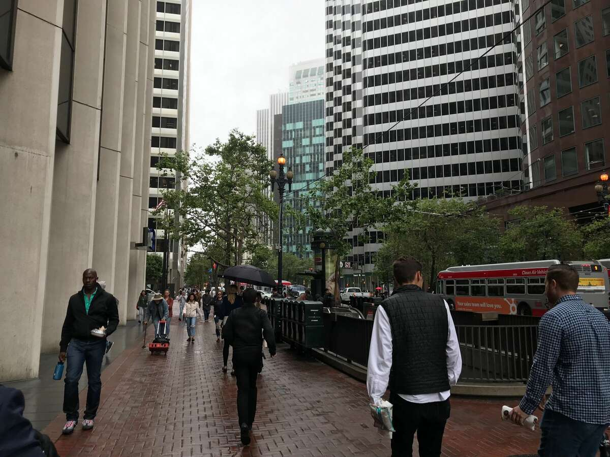 FILE - Light rain fell in San Francisco on June 26, 2019. More is expected to follow early this week as a mild storm system moves into the Bay Area.