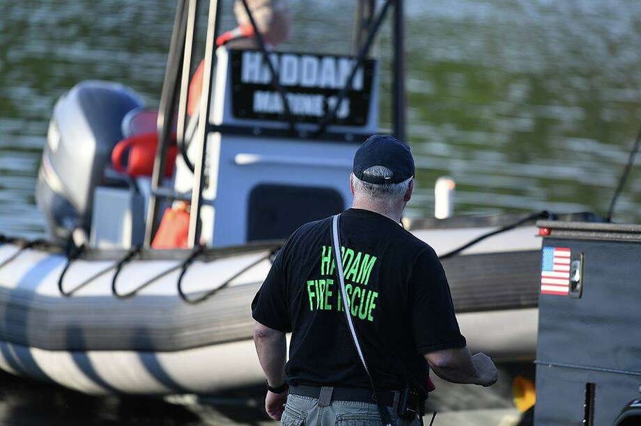 Haddam and East Haddam firefighters conducted a marine drill at Haddam Meadows State Park earlier this month. Photo: Olivia Drake Photo