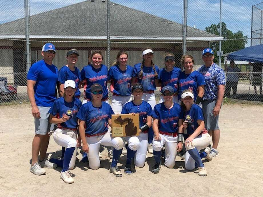 Members of the Midland Lady Explorers 16U team which finished second at the NSA state tournament in Potterville recently are (front, from left) Taylor Hopkins, Ally Sutton, Jenna Holzinger, Carolina Kern, Taylor Stodolak; and (back, from left) manager Ryan Holzinger, Markie Hooton, Ashtyn Kelly, Mady Ahleman, Savannah Sprague, Laney Wiley, Taylor Krzyzaniak, and assistant coach Dave Krzyzaniak. (photo provided) Photo: Photo Provided