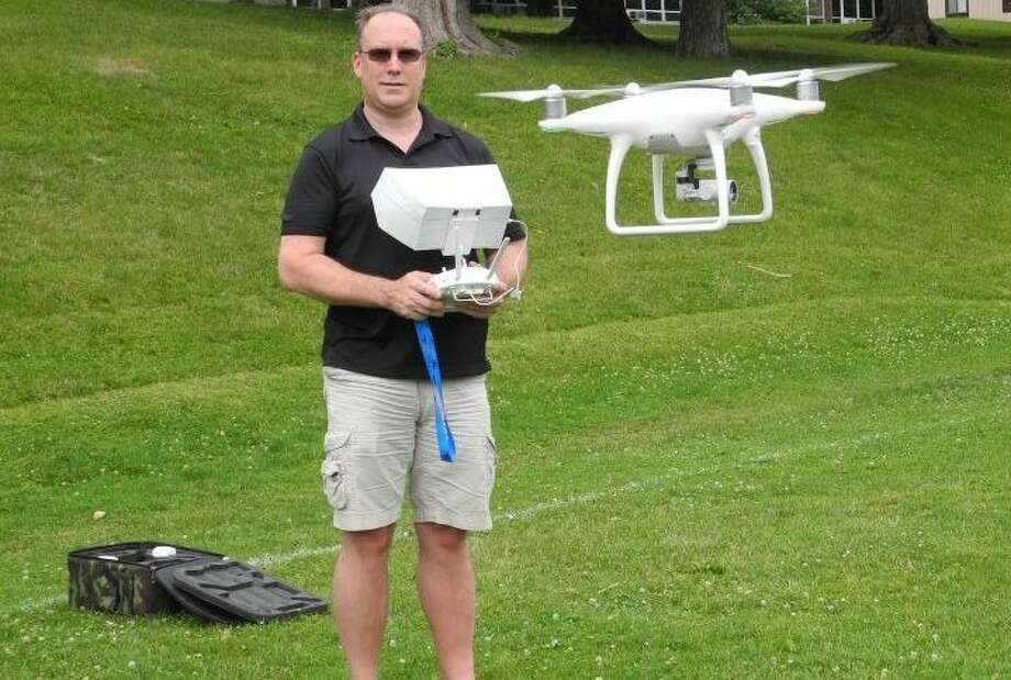 Ridgefield resident Sean McEvoy flies his drone. — Bryan Haeffele photo
