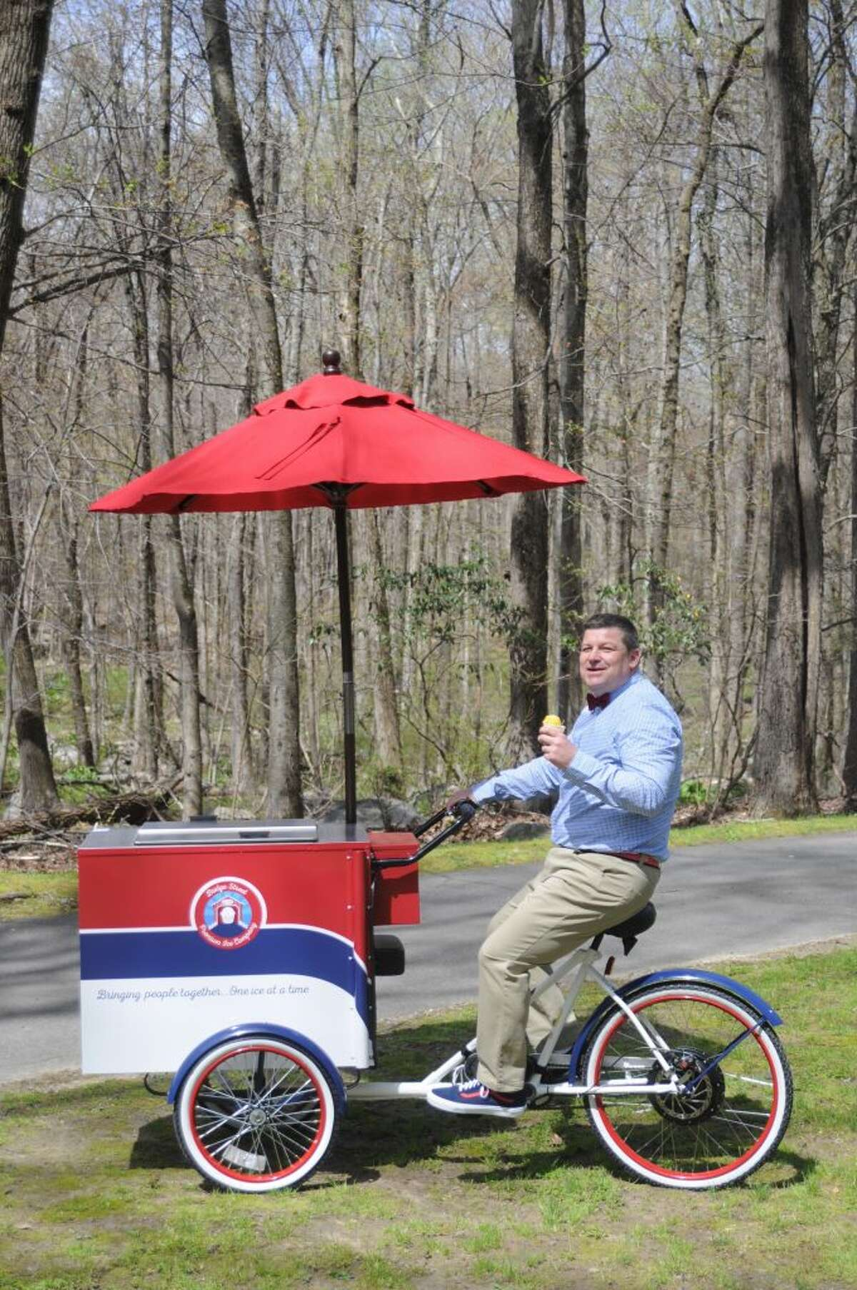 Michael Cunningham's Bridge Street Premium Ice has gotten a permit from the selectmen to sell sorbet from his vendor tricycle at events and parties.