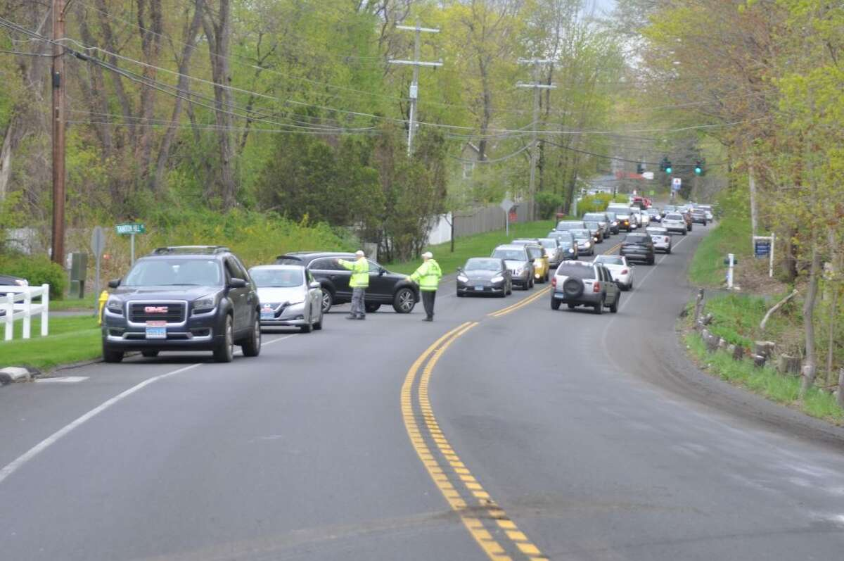 Long lines of traffic stemming from the three-car accident on Danbury Road Wednesday, May 1.