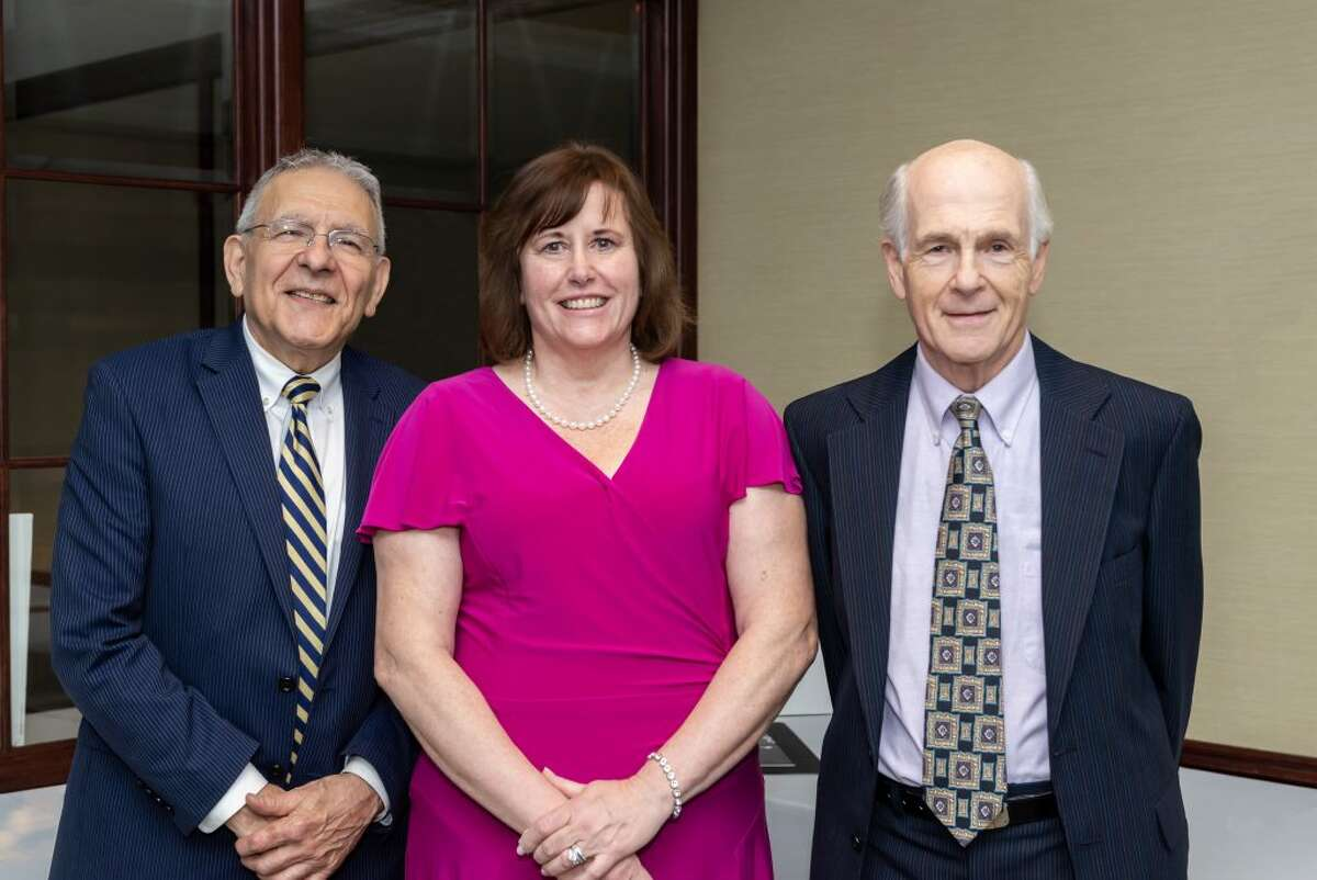 Trumbull Superintendent and keynote speaker Dr. Gary A. Cialfi, 2019 Weller Excellence in Teaching Award recipient-Trumbull, Sheila Craw, with Vice Chairman, The Weller Foundation, Incorporated, Dr. Michael P. Zabinski.
