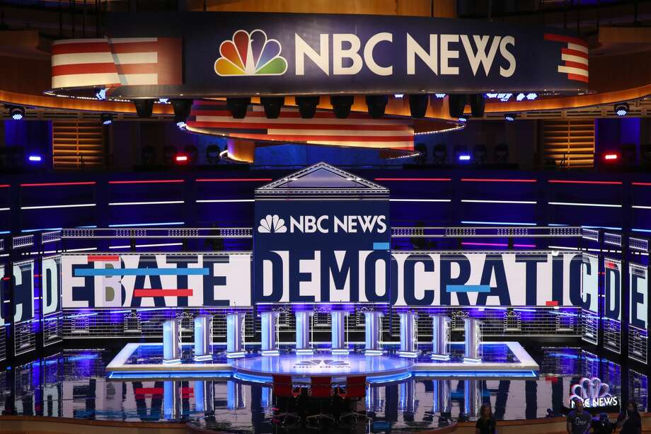The stage is set for the first Democratic presidential primary debate for the 2020 election at the Adrienne Arsht Center for the Performing Arts, June 26, 2019 in Miami, Florida. A field of 20 Democratic presidential candidates was split into two groups of 10 for the first debate of the 2020 election, taking place over two nights at Knight Concert Hall of the Adrienne Arsht Center for the Performing Arts of Miami-Dade County, hosted by NBC News, MSNBC, and Telemundo. Photo: Drew Angerer/Getty Images