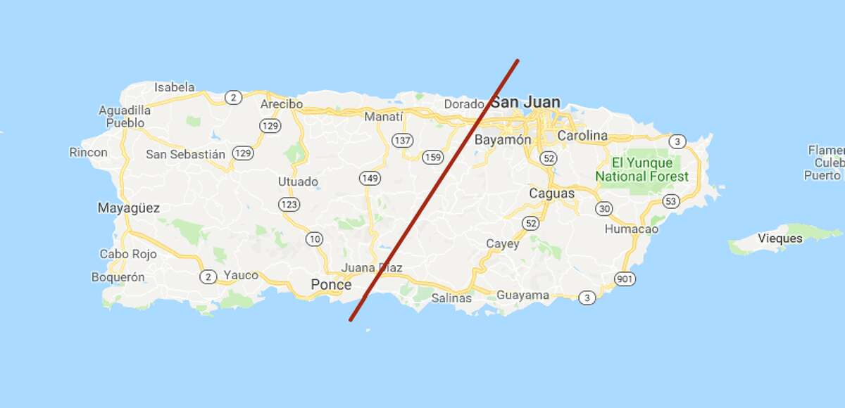 The distance easily clears Puerto Rico.