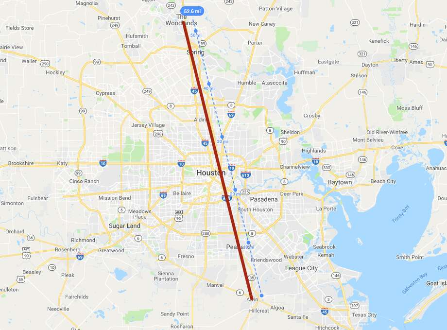 A drive from one end of the Houston area to the other — from Alvin to The Woodlands (about 52.6 miles) — would take travelers clear across several states and countries. >>> Click through the slideshow to see what the journey looks like in other parts of the world. Photo: Google MyMaps