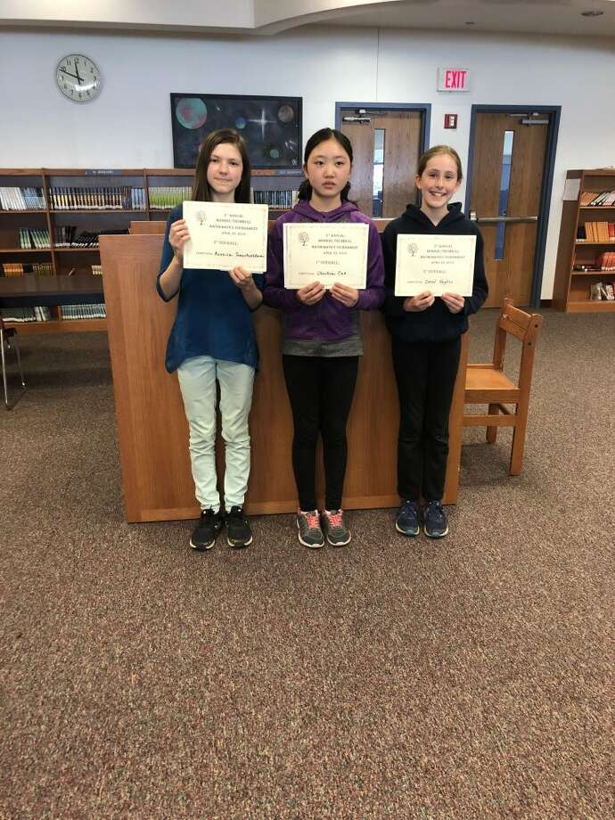 Kseniia Tomashevskaia and Christina Cao, both from Hillcrest Middle School and Carol Hughes from Madison Middle School, were the three finalists in the individual mathematics competition.