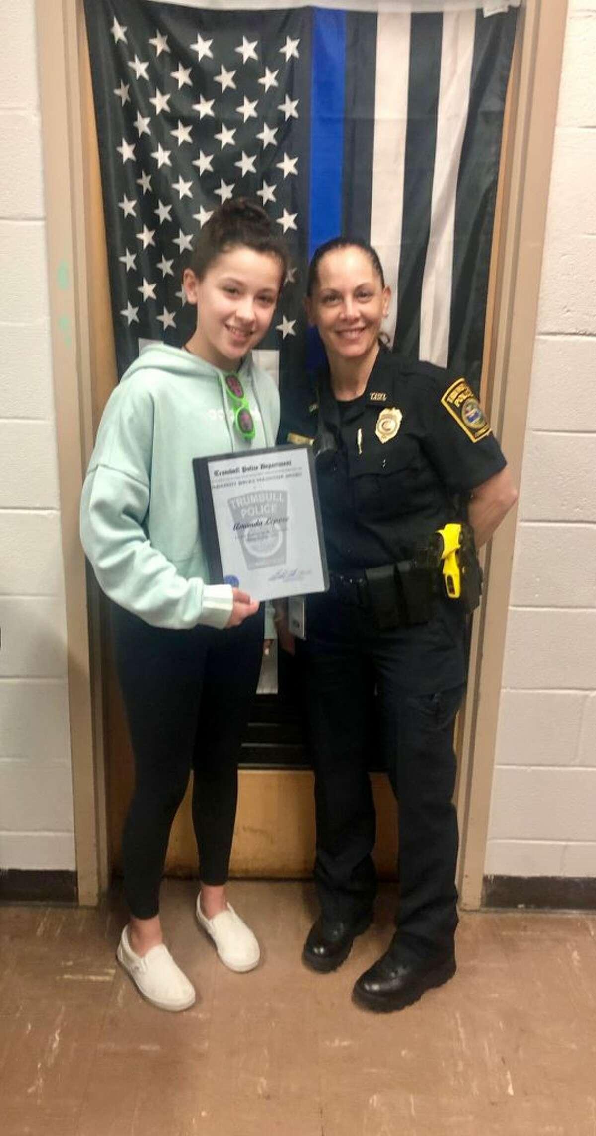 Amanda Lepore and School Resource Officer Theresa Massa.