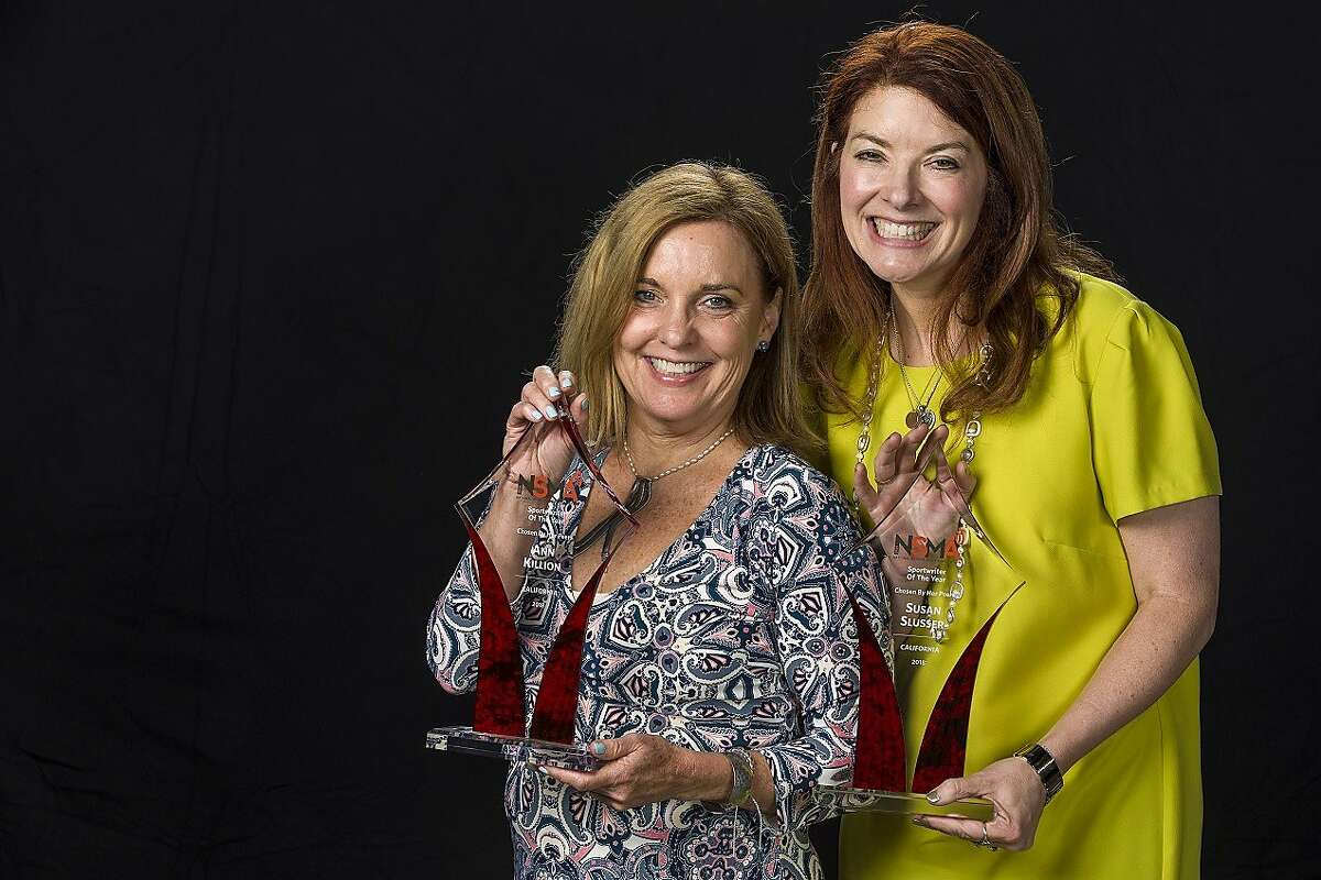The San Francisco Chronicle's Ann Killion and Susan Slusser, here with their co-California Sportswriter of the Year awards, were honored Thursday by the Associated Press Sports Editors.