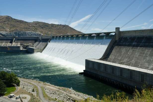 The Grand Coulee Dam sits on the Columbia River in Washington State. It is home to three massive power plants.