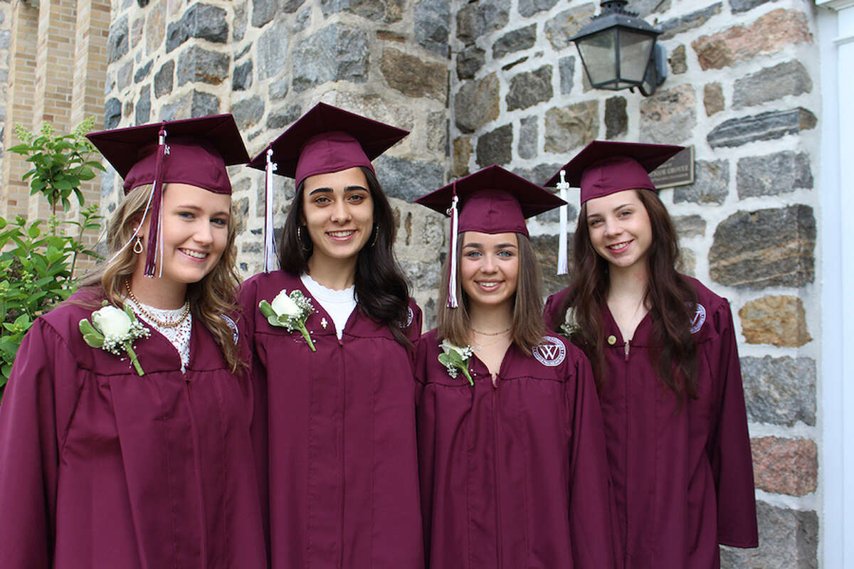 Wilton students who graduated from the Wooster School are, from left, Katherine Hynes, Alix Wadehra, Bayley Storrier and Elizabeth Hinshaw.