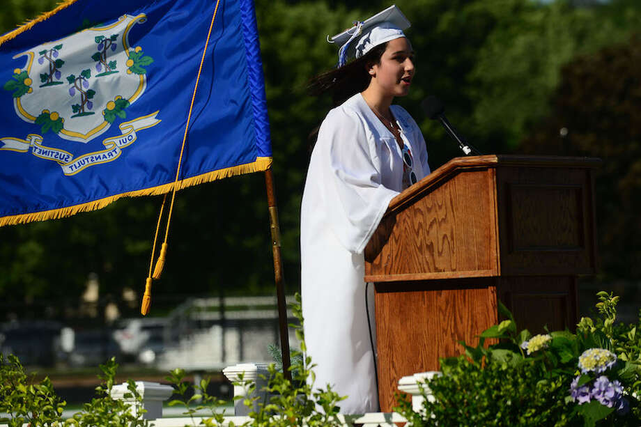 Ava Kaplan, president of Wilton High School's executive board, welcomes everyone to commencement exercises on June 15, 2019. — Erik Trautmann/Hearst Connecticut Media / Norwalk Hour