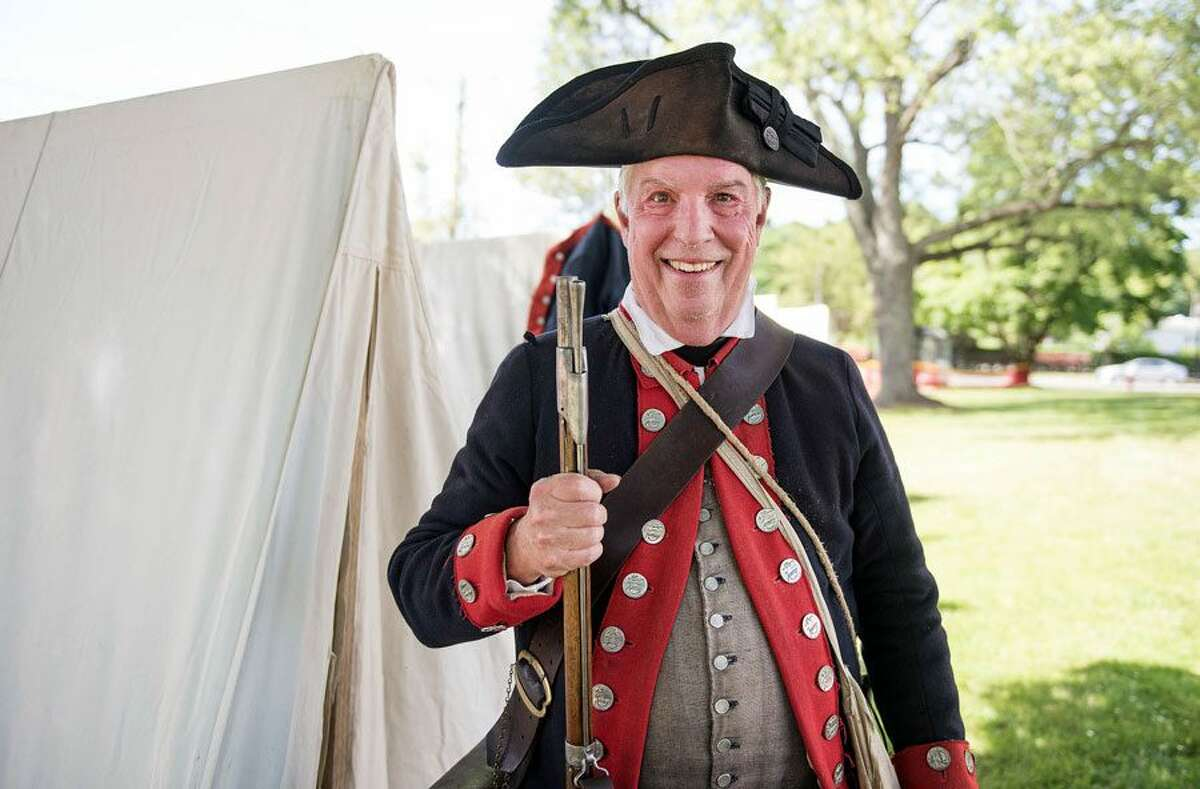 Roger Smith of Wilton, a reenactor, appeared in Colonial military garb at Living History Day in Bethel. - Bryan Haeffele/Hearst Connecticut Media photo