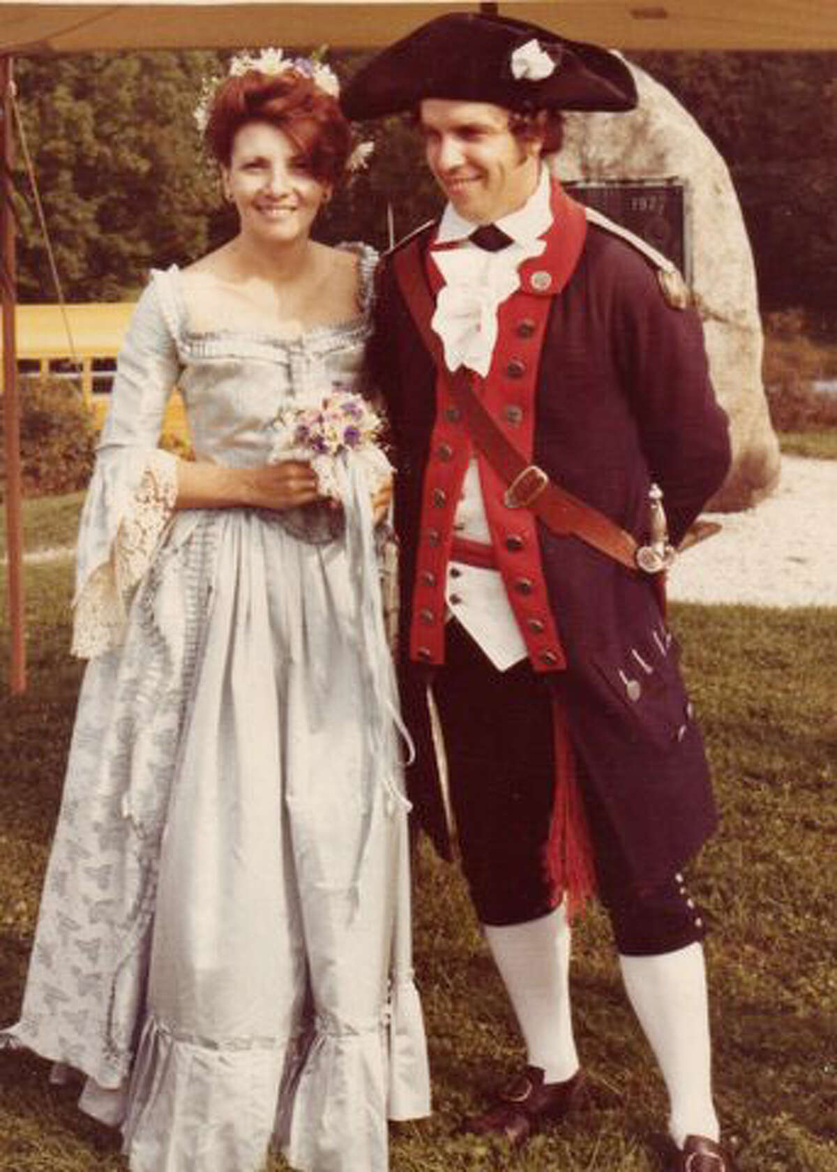 Reenactors Dee and Roger Smith wore Colonial dress at their wedding ceremony on the Battle of Bennington battlefield. - Contributed photo