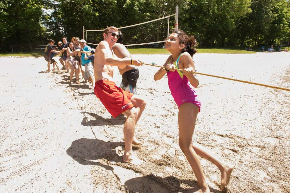 An enthusiastic tug-of-war was part of the Wilton Day festivities.