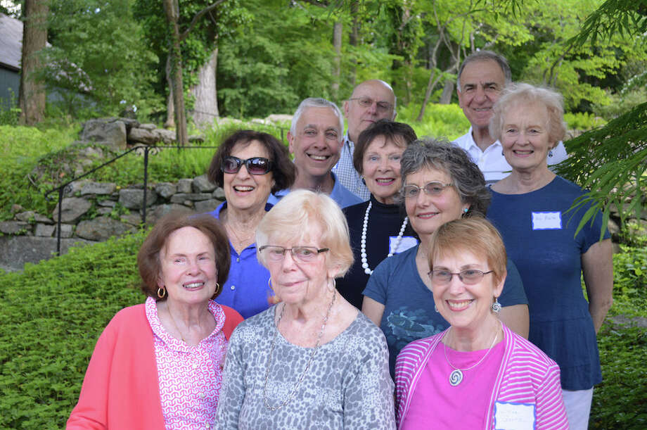 Members of the Stay at Home in Wilton Walking Club, front row, from left, Barbara Sage, Janet Johnson, and Linda Gortz. Middle row, Ellen Kapustka, Jim Kapustka, Anne Hill, Lynne Zareski, and Ann Newton. Back row, Pete Zareski and Ben Mazzucco. / Wilton Bulletin Contributed