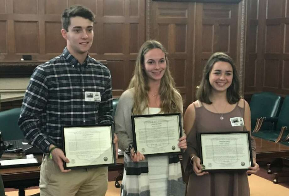 Josh Carone, of Ridgefield, Alicia Nicoletti of Danbury, and Bayley Storrier, of Wilton, were honored for heroism. — Contributed photo