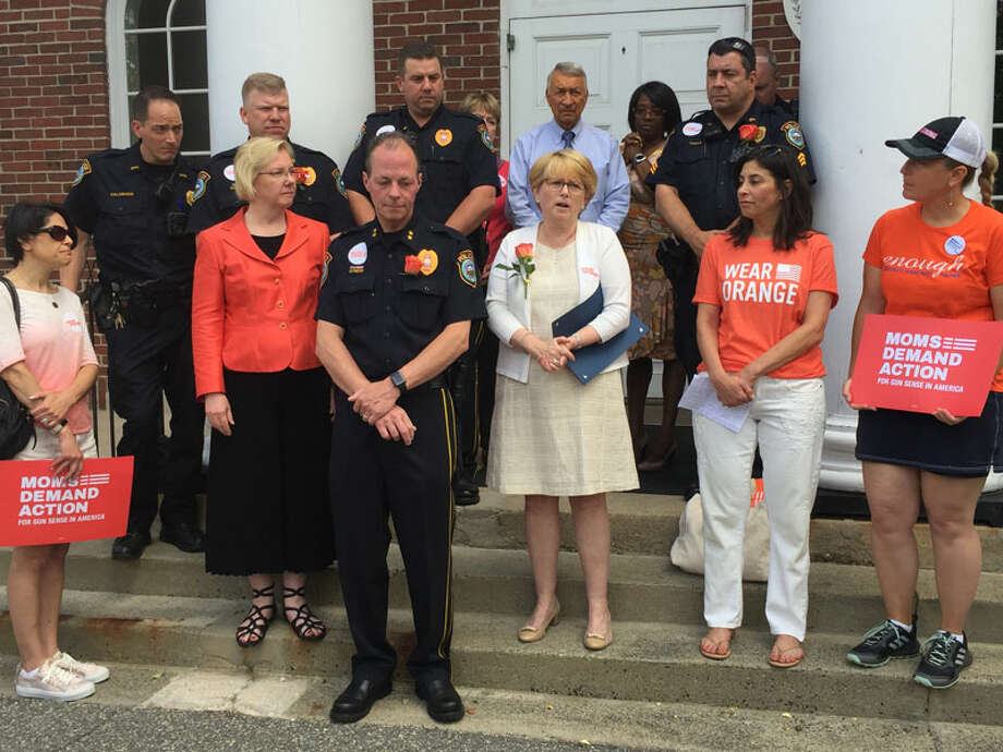 Wilton First Selectwoman Lynne Vanderslice issued a proclamation declaring Friday, June 7, National Gun Violence Awareness Day in Wilton. —Patricia Gay/Hearst Connecticut Media
