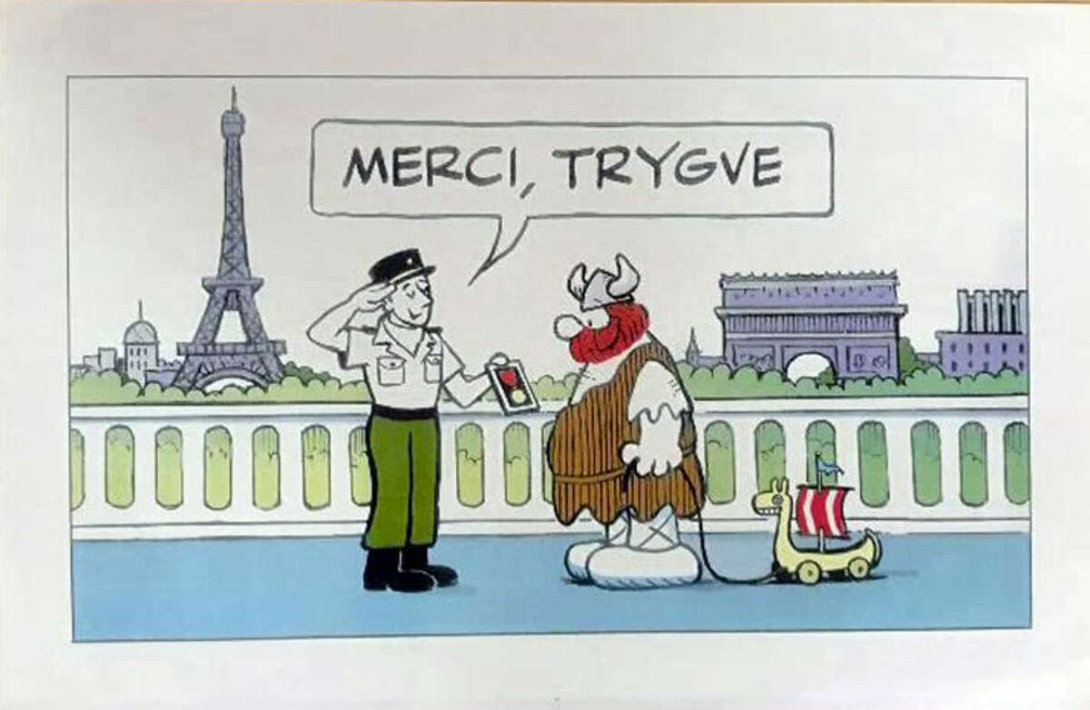 A drawing made by a friend of Trygve Hansen who is also the artist behind Hagar the Horrible. This was made back when Trygve attended the 60th D-Day anniversary. - Contributed photo