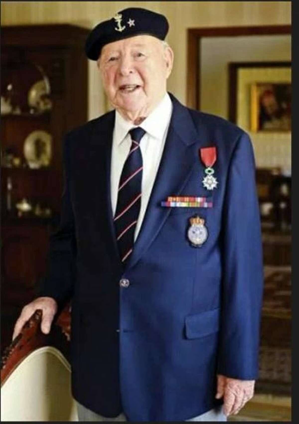 Wilton resident Trygve Hansen with several of the medals he has received for his service. - Contributed photo