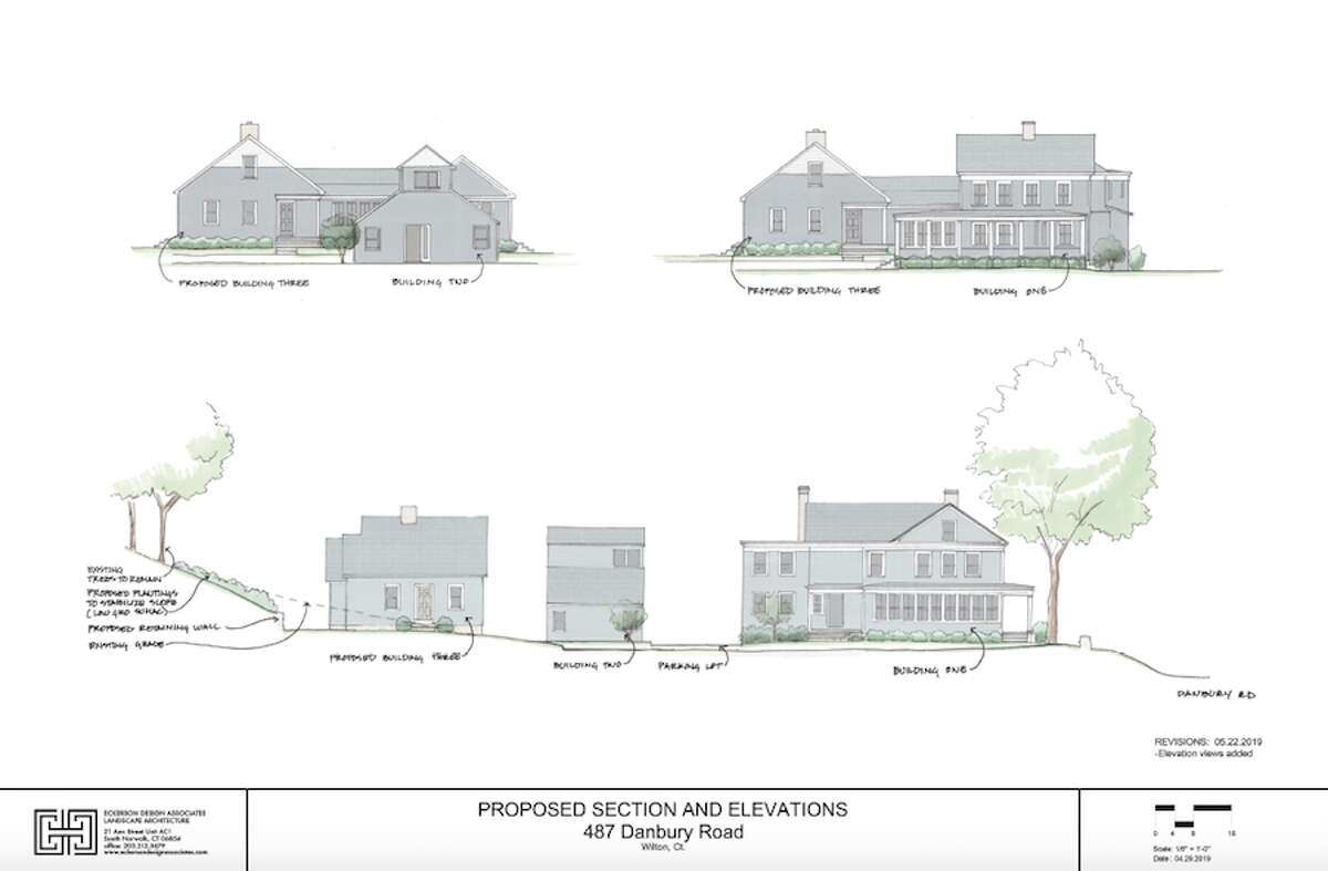 A rendering of the proposed apartments and present building at 487 Danbury Road.